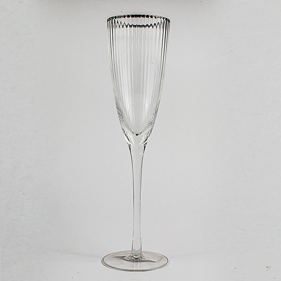 Copa para champag borde plateado